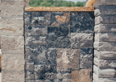 Limestone Castlerock Natural Stone Veneer and Teakwood Cap
